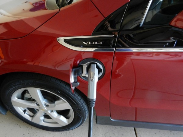 2011 Chevrolet Volt plugged into Coulomb Technologies 240V wall charging unit
